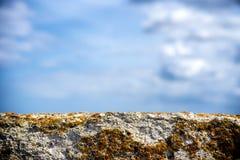 As algas e o molde em A danificaram o muro de cimento e o céu bonito Foto de Stock