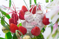 As alianças de casamento, alianças de casamento no fruto chapeiam o close up Fotos de Stock