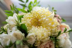 As alianças de casamento do ouro encontram-se em um botão do crisântemo amarelo Fotografia de Stock