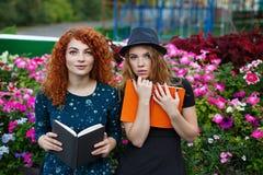 As amigas leram o livro no parque Fotografia de Stock