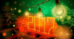 As ampolas da lâmpada do Natal iluminaram o ano novo 2017 no fundo escuro Ilustração ilustração royalty free