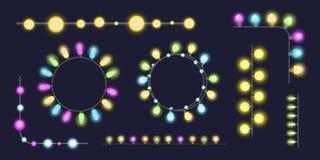 As ampolas de incandescência da festão do Natal para o projeto e a celebração de cartões do feriado do xmas party o feriado decor Imagem de Stock