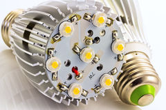 As ampolas E27 do diodo emissor de luz com 1 watt de SMD lascam-se Imagem de Stock