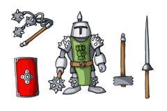As armas coloridas cavaleiros tiradas mão da garatuja da etiqueta ajustaram-se isolado no branco imagens de stock