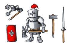As armas coloridas cavaleiros tiradas mão da garatuja da etiqueta ajustaram-se isolado no branco fotos de stock
