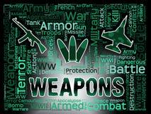 As armas exprimem a potência de fogo armada meios e a munição ilustração stock