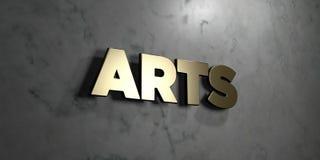 As artes - sinal do ouro montado na parede de mármore lustrosa - 3D renderam a ilustração conservada em estoque livre dos direito ilustração do vetor
