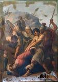 as 9as estações da cruz, Jesus caem a terceira vez Foto de Stock