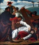 as 9as estações da cruz, Jesus caem a terceira vez Fotografia de Stock Royalty Free