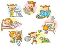 As atividades diárias da menina ilustração do vetor