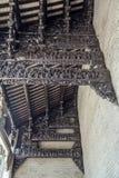 As atrações turísticas famosas de Guangzhou, China, salão ancestral de Chen, cinzelado com madeira cinzelaram as figuras populare imagem de stock royalty free