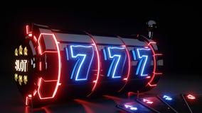 As automat do gier Z Jarzyć się światła Odizolowywających Na Czarnym tle i karty do gry - 3D ilustracja ilustracji