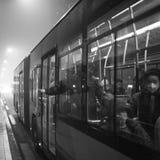As autoridades do Pequim impulsionam o nível do vermelho do alerta de poluição atmosférica Foto de Stock