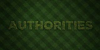 As AUTORIDADES - letras frescas da grama com flores e dentes-de-leão - 3D renderam a imagem conservada em estoque livre dos direi ilustração royalty free