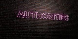 As AUTORIDADES - sinal de néon realístico no fundo da parede de tijolo - 3D renderam a imagem conservada em estoque livre dos dir ilustração royalty free
