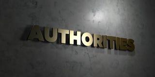 As autoridades - texto do ouro no fundo preto - 3D renderam a imagem conservada em estoque livre dos direitos ilustração stock