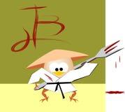 As aventuras do hurd egg vestido no quimono com bloo Fotografia de Stock Royalty Free