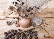 As bagas são caqui selvagem pequeno e ramos quebrados em um potenciômetro de argila Foto de Stock