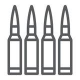 As balas alinham o ícone, a munição e o exército, sinal do calibre, gráficos de vetor, um teste padrão linear em um fundo branco ilustração royalty free