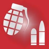 As balas da granada de mão indicam o conflito e a violência do assassinato ilustração royalty free