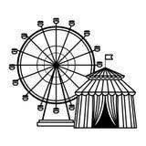 As balsas rodam o ícone preto e branco ilustração do vetor