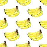 As bananas da aquarela frutificam teste padrão sem emenda no fundo branco ilustração stock