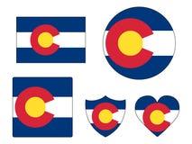 As bandeiras ajustaram-se do estado dos EUA de Colorado ilustração stock