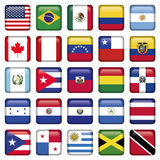 As bandeiras americanas esquadraram ícones Fotos de Stock