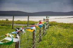 As bandeiras coloridas que batem no vento no machair colocam ao lado do Sandy Beach fotografia de stock