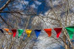 As bandeiras coloridas triangulares penduram em uma corda branca entre os ramos das árvores contra o céu azul com nuvens brancas Foto de Stock