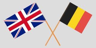 As bandeiras cruzadas de Bélgica e de Reino Unido ilustração stock