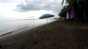 As bandeiras da bandeira e o parasol coloridos do guarda-chuva alinham no Sandy Beach vazio tropical no dia nebuloso vídeos de arquivo