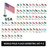 As bandeiras da coleção Polo dos países do mundo embandeiram o grupo isométrico P-Z ilustração stock
