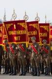 As bandeiras da grande guerra patriótica nos graus Ensaio de parada em honra de Victory Day, St Petersburg Imagens de Stock