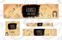 As bandeiras da Web para Web site 4 tamanhos diferentes no estilo retro entregam tirado Barbeiro, beleza e estilo Vetor Fotografia de Stock Royalty Free