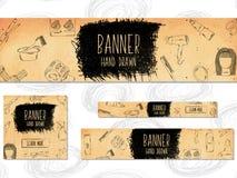 As bandeiras da Web para Web site 4 tamanhos diferentes no estilo retro entregam tirado Barbeiro, beleza e estilo Vetor Imagens de Stock Royalty Free