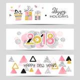 As bandeiras de cumprimento do ano novo feliz 2018 ajustaram-se em cores cor-de-rosa, douradas e pretas Fotos de Stock Royalty Free