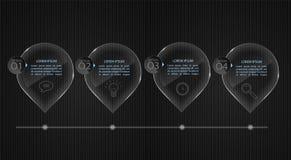 As bandeiras de vidro, ajustaram-se fora dos moldes infographic Fotografia de Stock Royalty Free