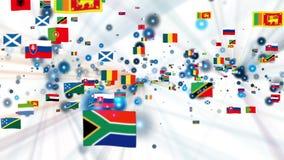 As bandeiras do mundo brilham, mosca da câmera completamente ilustração do vetor