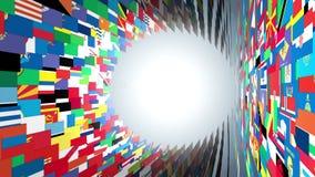 As bandeiras do mundo escavam um túnel a mosca completamente, flor, alfa, metragem conservada em estoque ilustração stock