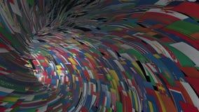 As bandeiras do mundo escavam um túnel a mosca completamente, flor clara, metragem conservada em estoque ilustração do vetor