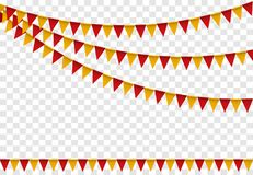 As bandeiras do partido ajustaram-se, estamenha colorida para a arte dos desenhos animados do feliz aniversario Ilustração do vet Imagens de Stock
