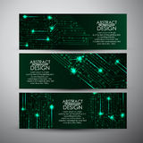 As bandeiras do vetor ajustaram-se com fundo abstrato da tecnologia das luzes verdes Fotografia de Stock