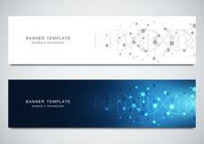 As bandeiras do vetor projetam para a medicina, a ciência e a tecnologia Fundo da estrutura molecular e hélice do ADN ilustração stock