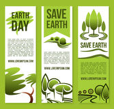 As bandeiras do vetor salvar moldes da natureza ou do Dia da Terra Fotografia de Stock Royalty Free