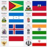 As bandeiras e os capitais do mundo ajustaram 10 Foto de Stock Royalty Free