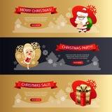 As bandeiras horizontais do Natal ajustaram o ouro e a obscuridade ilustração do vetor