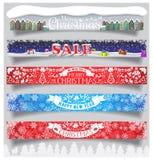 As bandeiras horizontais grandes do Feliz Natal e do ano novo ajustaram-se com etiquetas, símbolos e ícones Padrão para proporçõe ilustração stock