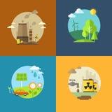 As bandeiras lisas da ecologia e da poluição ajustaram-se com ícones Imagem de Stock