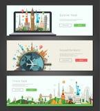 As bandeiras lisas do projeto, encabeçamentos ajustaram a ilustração com marcos mundialmente famosos Imagem de Stock